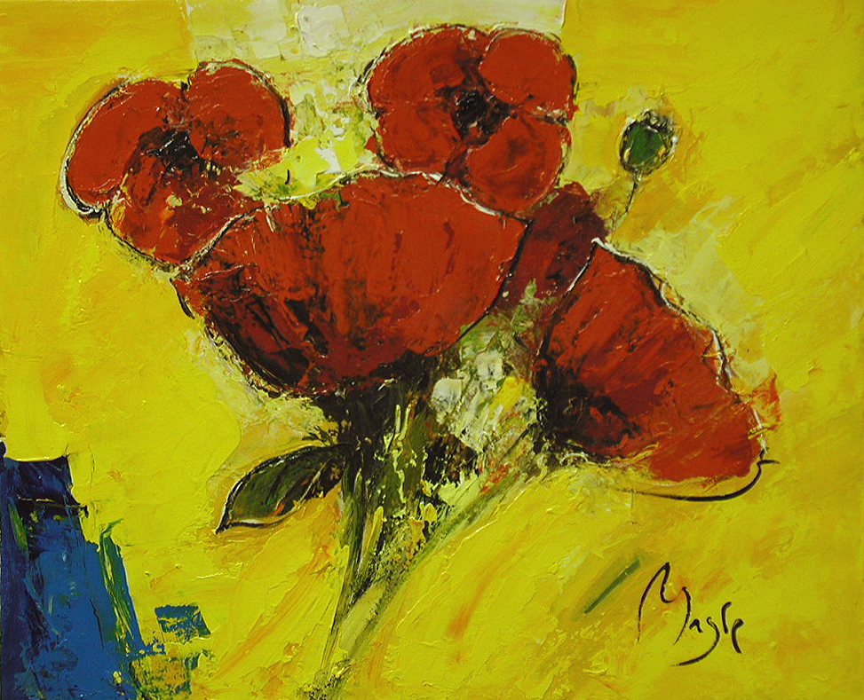 Bouquet of Poppies by  Louis  Magre - Masterpiece Online