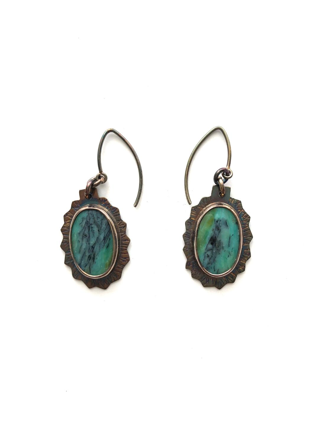 Blue Opal Displaced Petrified Wood Earrings in