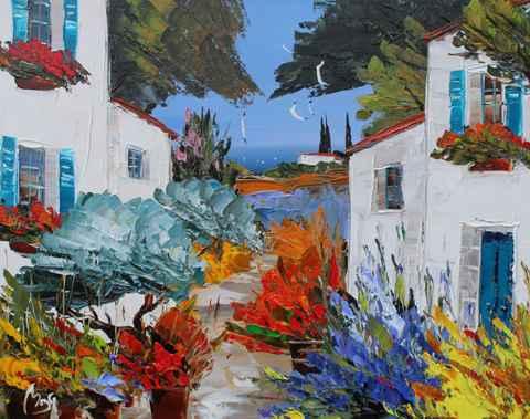 Village in Bloom by  Louis  Magre - Masterpiece Online