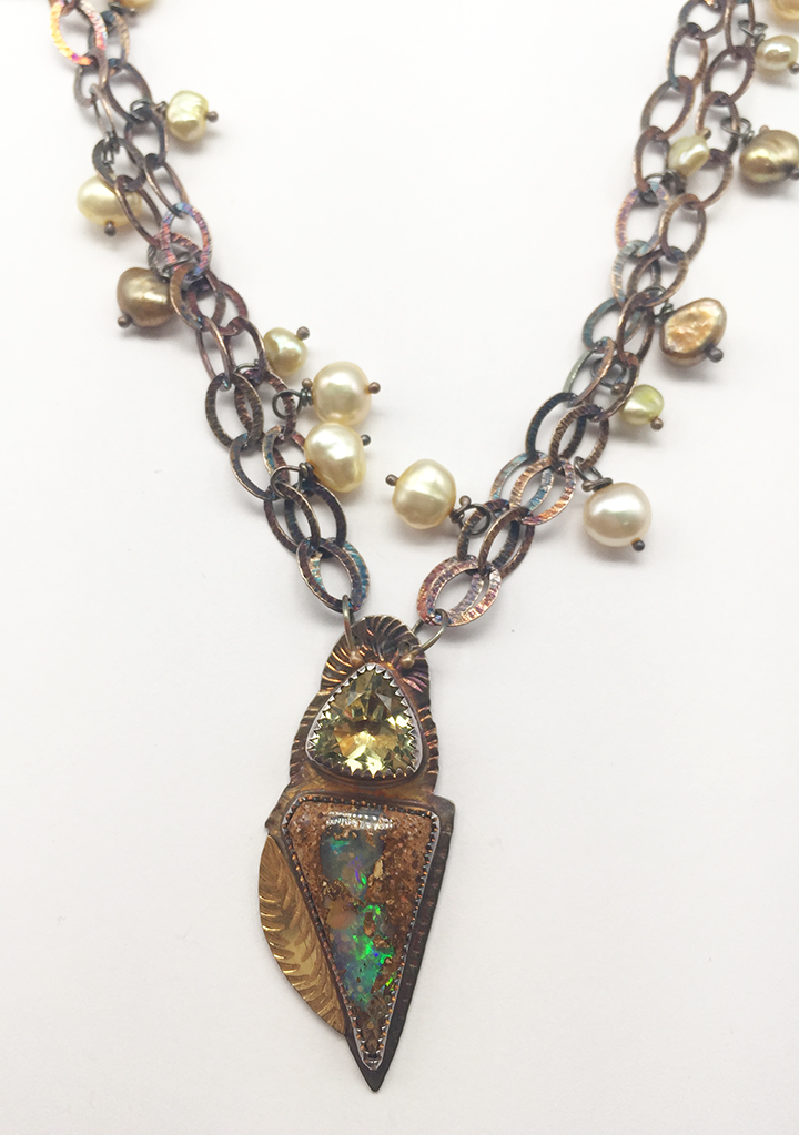 Yellow Quartz, Opal, Pearls, Sterling and 22k Necklace