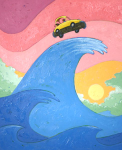 Car On Top Of Wave by  Joe Cepeda - Masterpiece Online