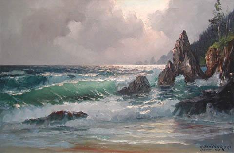 Oregon Coast Line by  A. Dzigurski Sr.  - Masterpiece Online