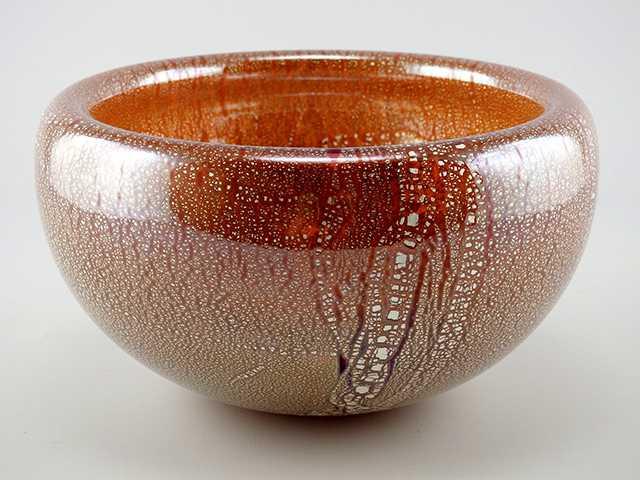 Bowl/Ruby Silver Leaf... by  Joy Jackson - Masterpiece Online