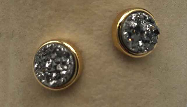 6mm Round Silver Druzy set in Gold Earrings