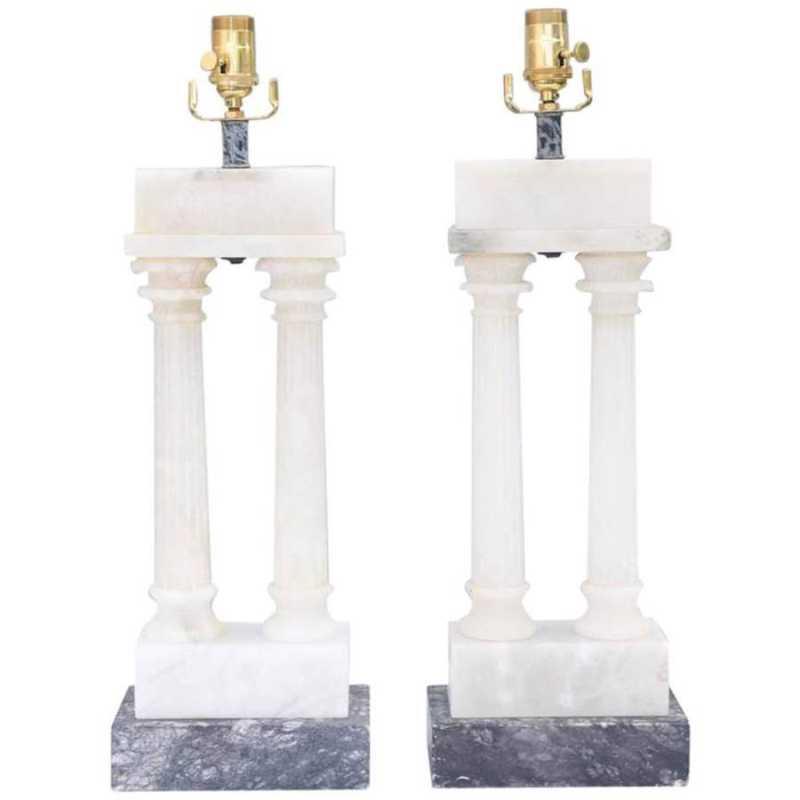 Pair of Alabaster Dua... by  Italian  - Masterpiece Online