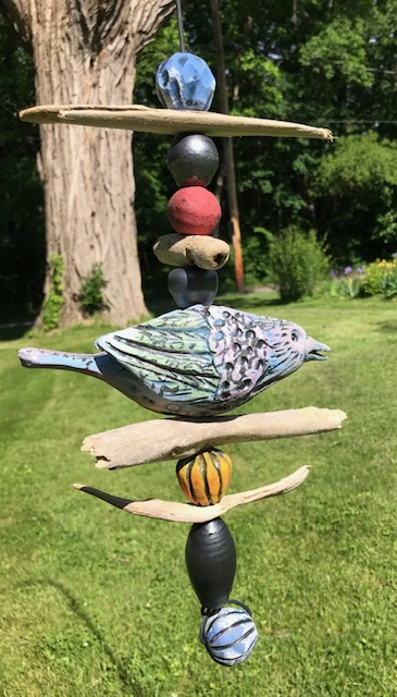 Single Bird Hanging Totem (Blue)