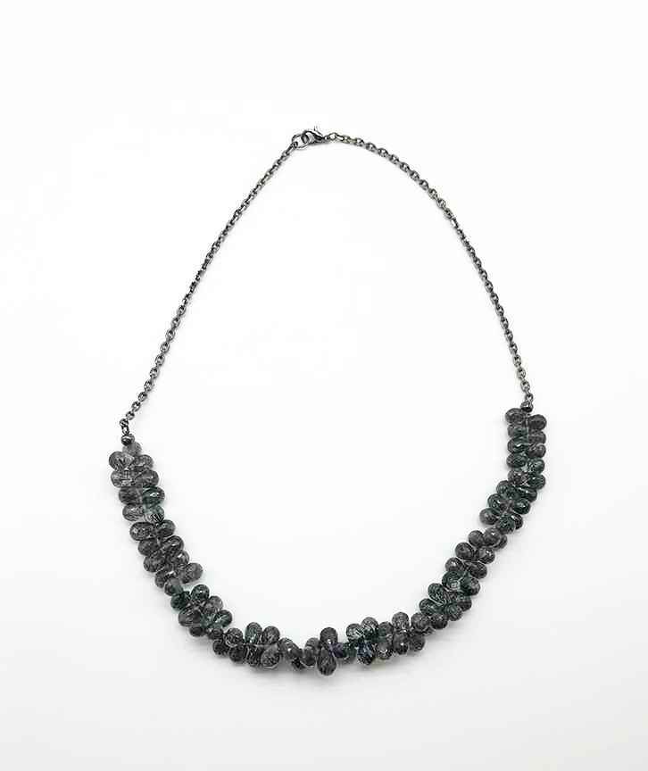 Black Tourmalines on Sterling Chain Necklace 18