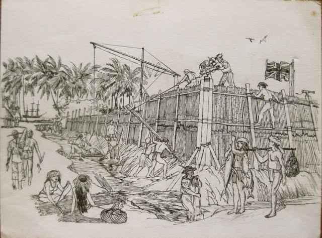 Building Fort George ... by  Herb Kawainui Kane (1928-2011) - Masterpiece Online
