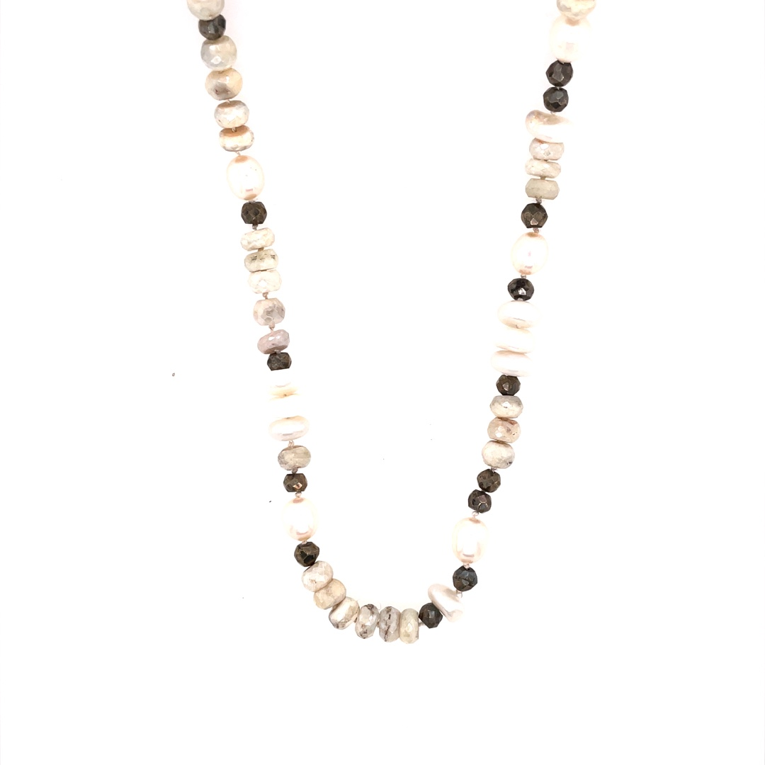 Silverite Sapphire, Pearls, Pyrite, Necklace with Sterling Silver Clasp 26