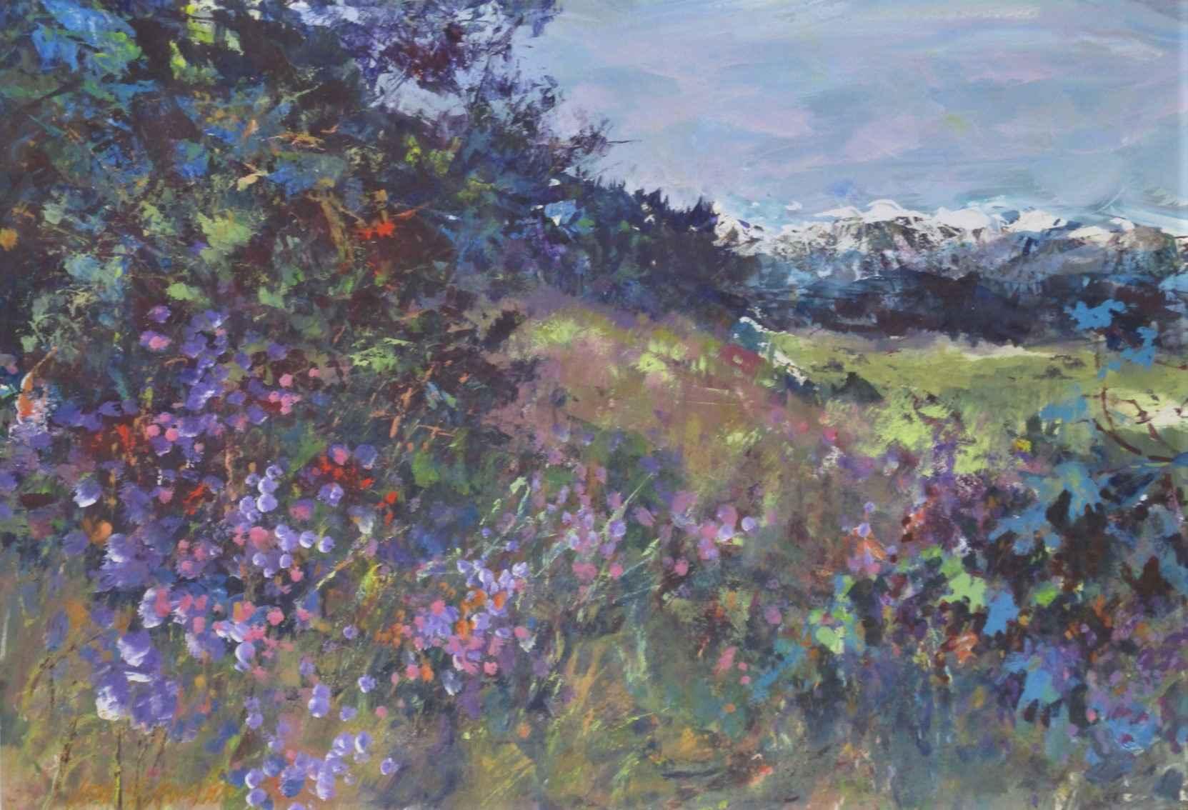 Unknown (flowers w/mt... by  Jean Schwalbe - Masterpiece Online