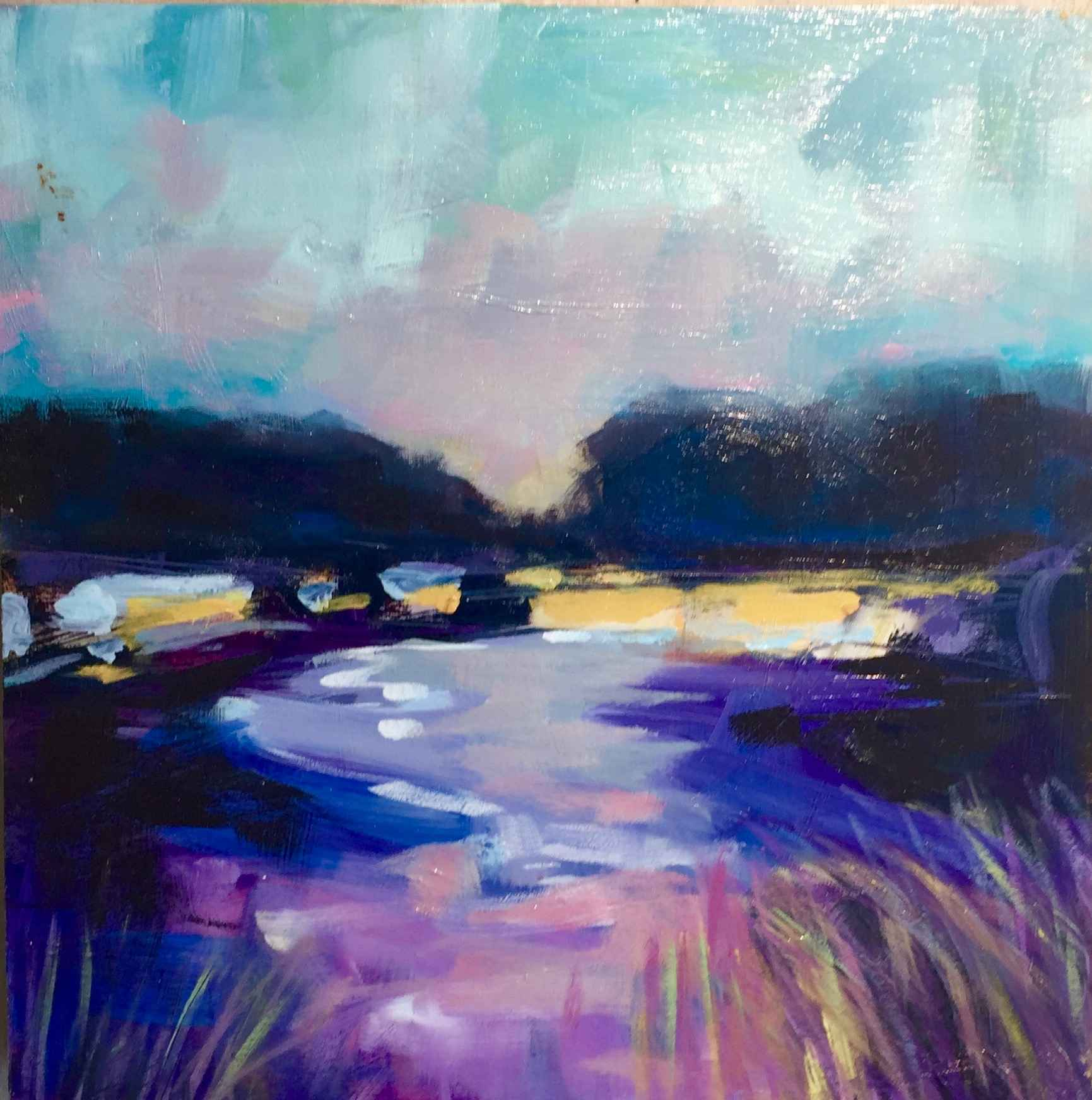 Lake with Purples and... by  Carol Finkbeiner Thomas - Masterpiece Online