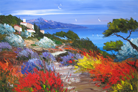 Mountains near the Sea by  Louis  Magre - Masterpiece Online