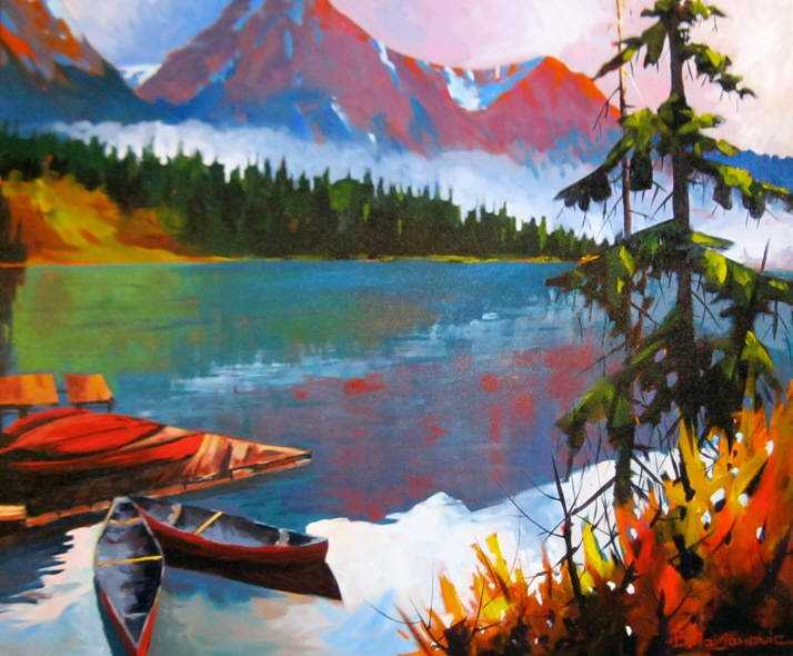 Emerald Lake Morning ... by  Branko Marjanovic - Masterpiece Online