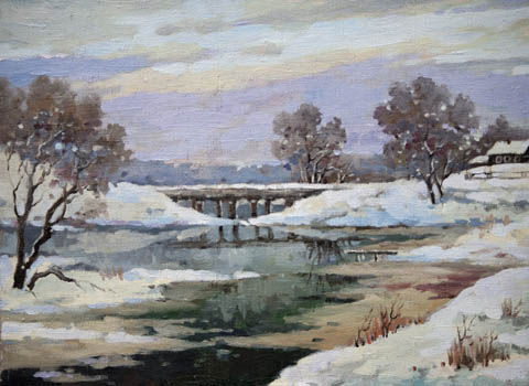 Winter River by   Kuzin - Masterpiece Online