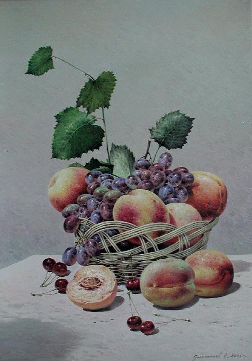 Still Life Grapes & P... by  Vasily Gribennikov - Masterpiece Online