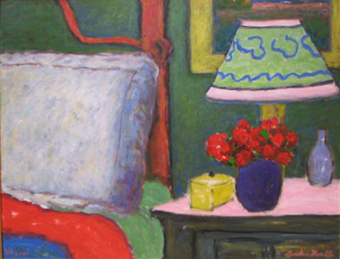 Bedroom With Red Flow... by  Andres  Morillo - Masterpiece Online