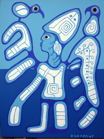 Shaman Leaving the Bo... by  Norval Morrisseau - Masterpiece Online