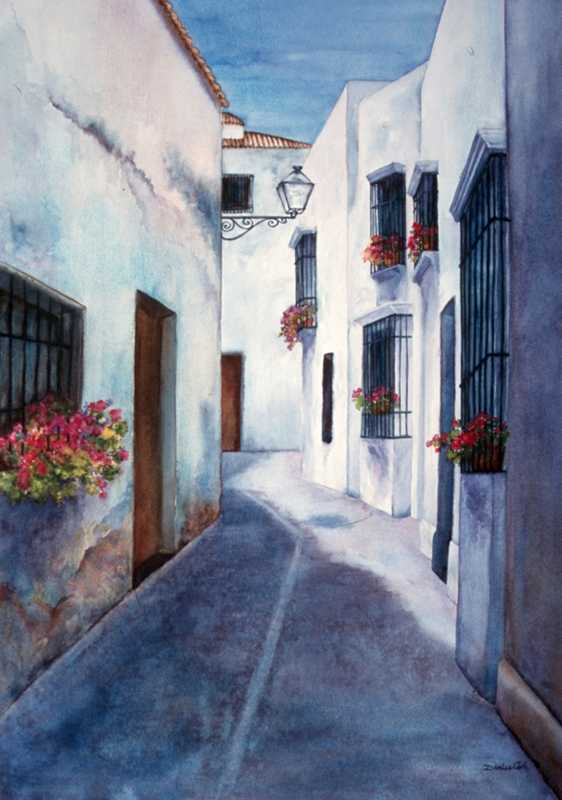 Calle Blanca  by Mrs Denise Cole - Watercolors