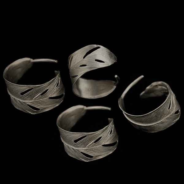 Feather Napkin Rings, Gunmetal