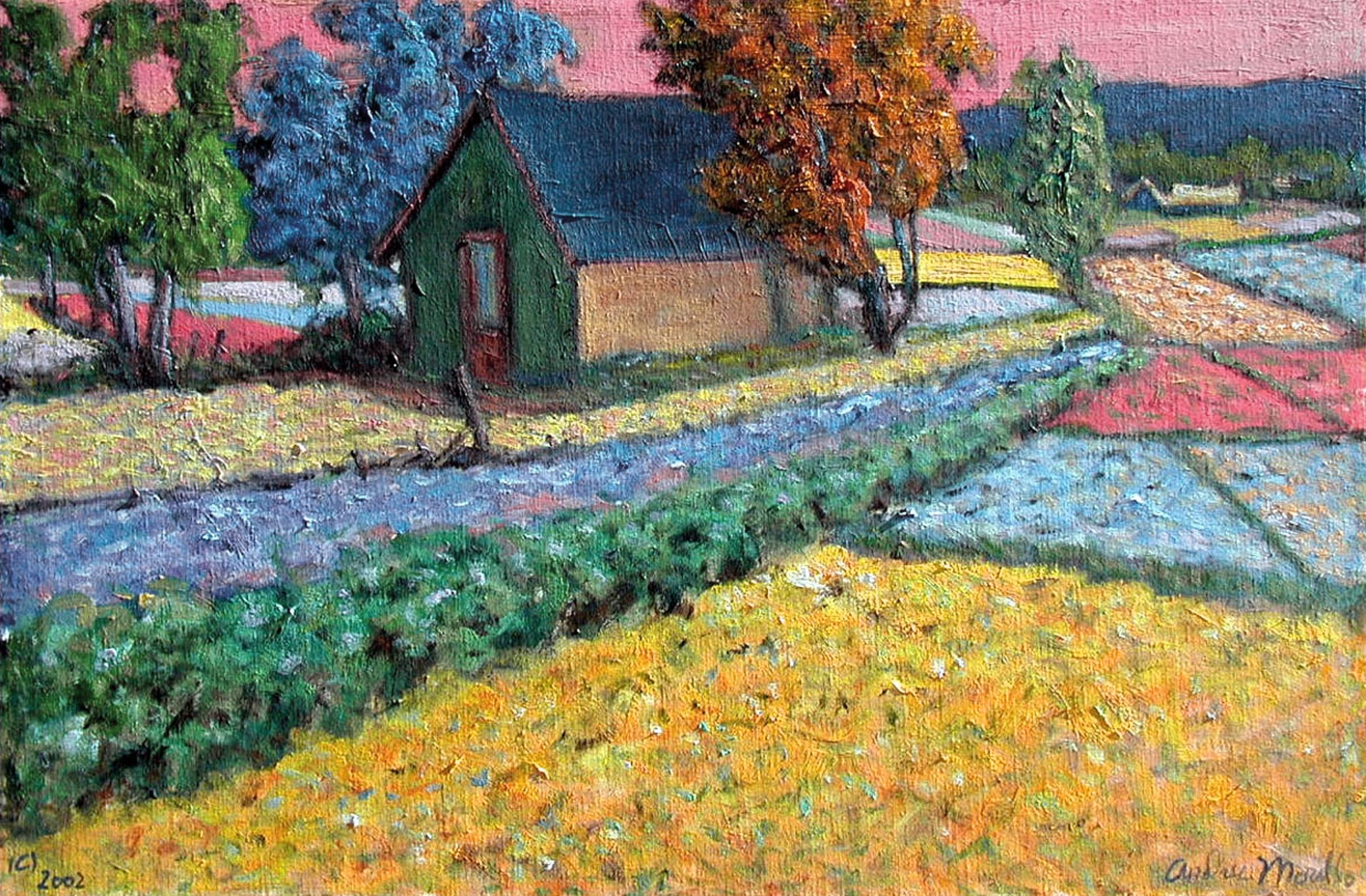 Barn with Flowering F... by  Andres  Morillo - Masterpiece Online