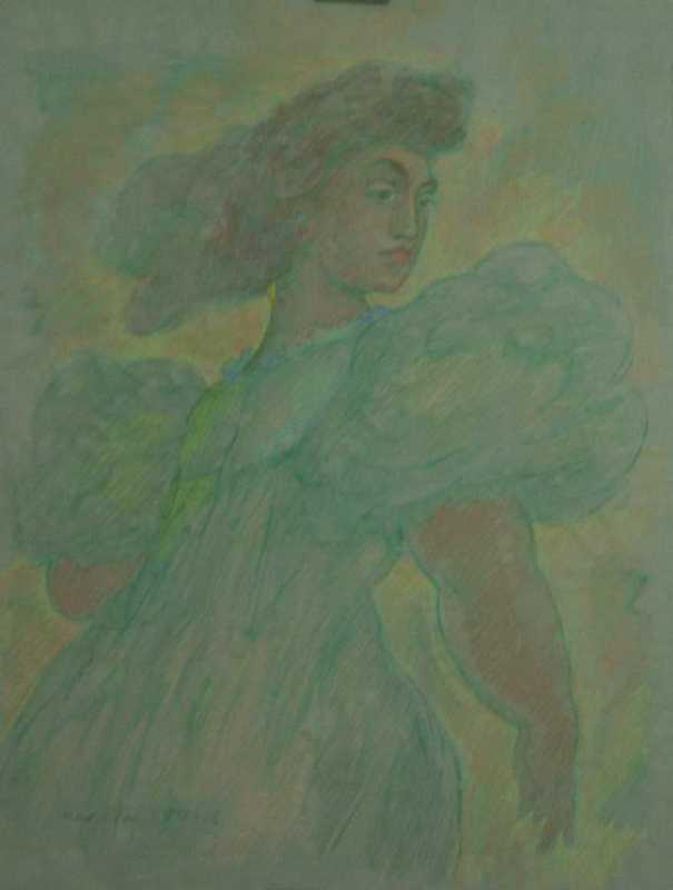 Woman In Green Dress by  Madge Tennant - Masterpiece Online