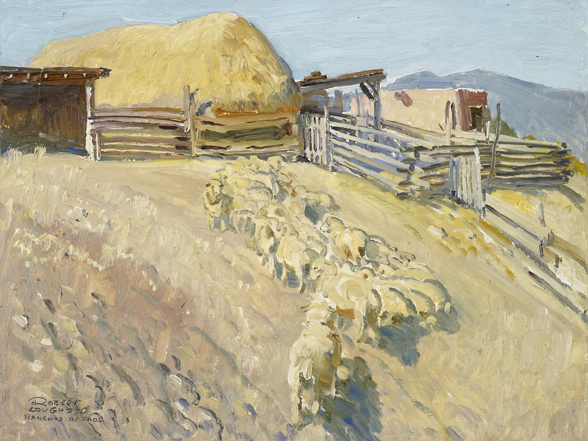 Ranchos De Taos Sheep by  Robert Lougheed - Masterpiece Online