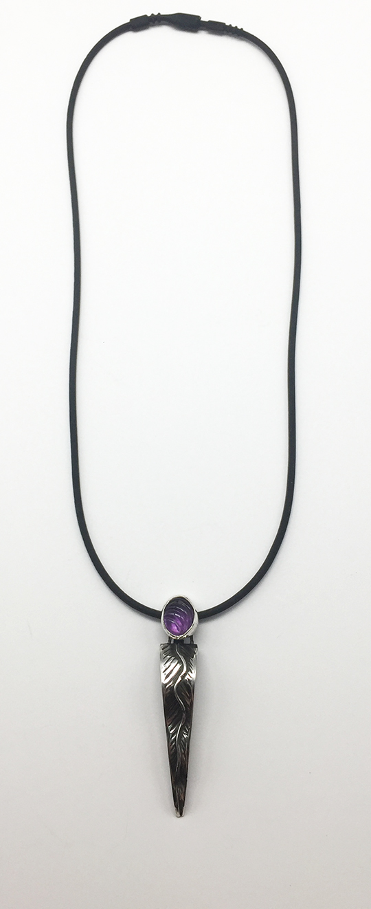 Small Hollow Begonia Silver Pendant with Amethyst.  Rubber Cord Necklace