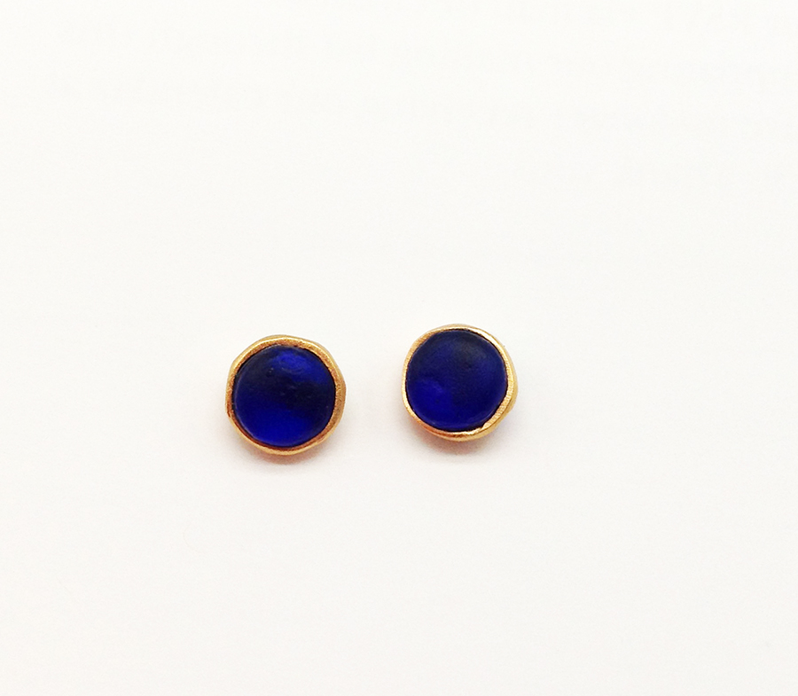 Bubble Post Earrings in Cobalt