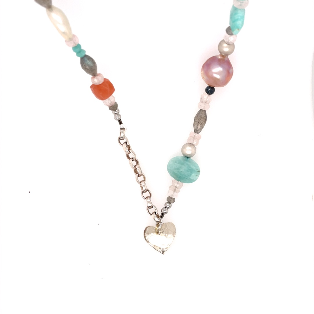Amazonite, Mixed gems, and Pearl Necklace with Sterling Silver Chain 34
