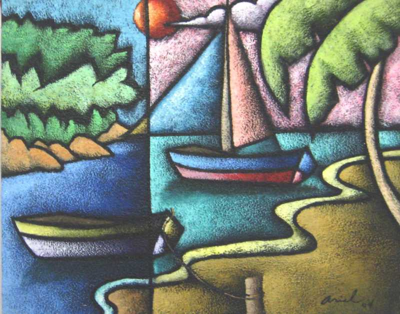 Boats At Mooring by  Haitian Fine Art  - Masterpiece Online