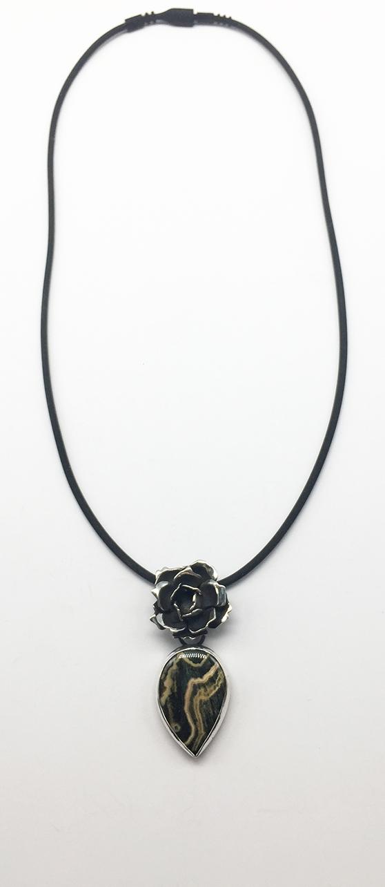 Silver Rose and Tiger Jasper Stone Pendant. Rubber Cord Necklace