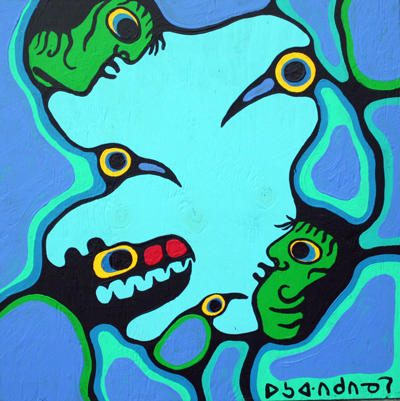 Shaman Speaking to Th... by  Norval Morrisseau - Masterpiece Online