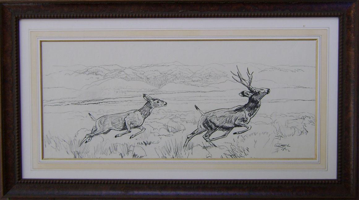 Deer Prancing by  Robert Lougheed - Masterpiece Online