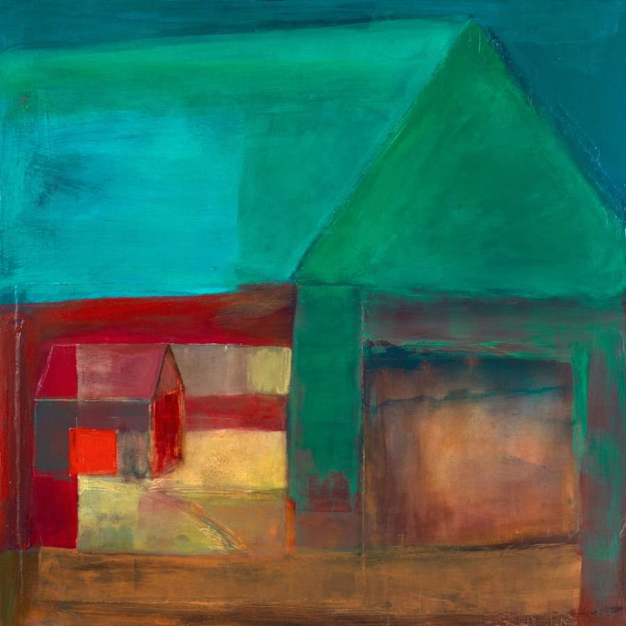 Two Barns with Cerise... by  Wendy Weldon - Masterpiece Online