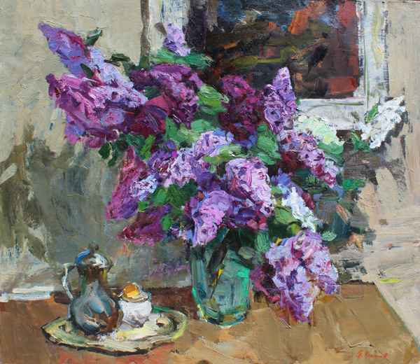 Still Life with Lilac by  Fedor Zakharov - Masterpiece Online