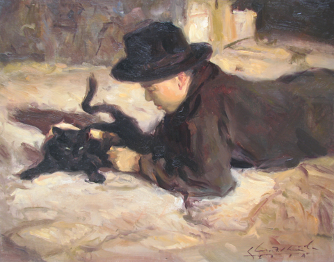 Boy with Cat by  Glenn Harrington - Masterpiece Online