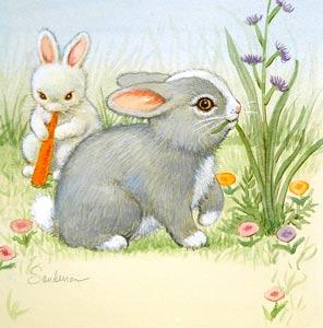 Grey Bunny by  Ruth Sanderson - Masterpiece Online