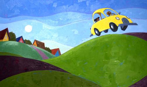 Driving In Yellow Car