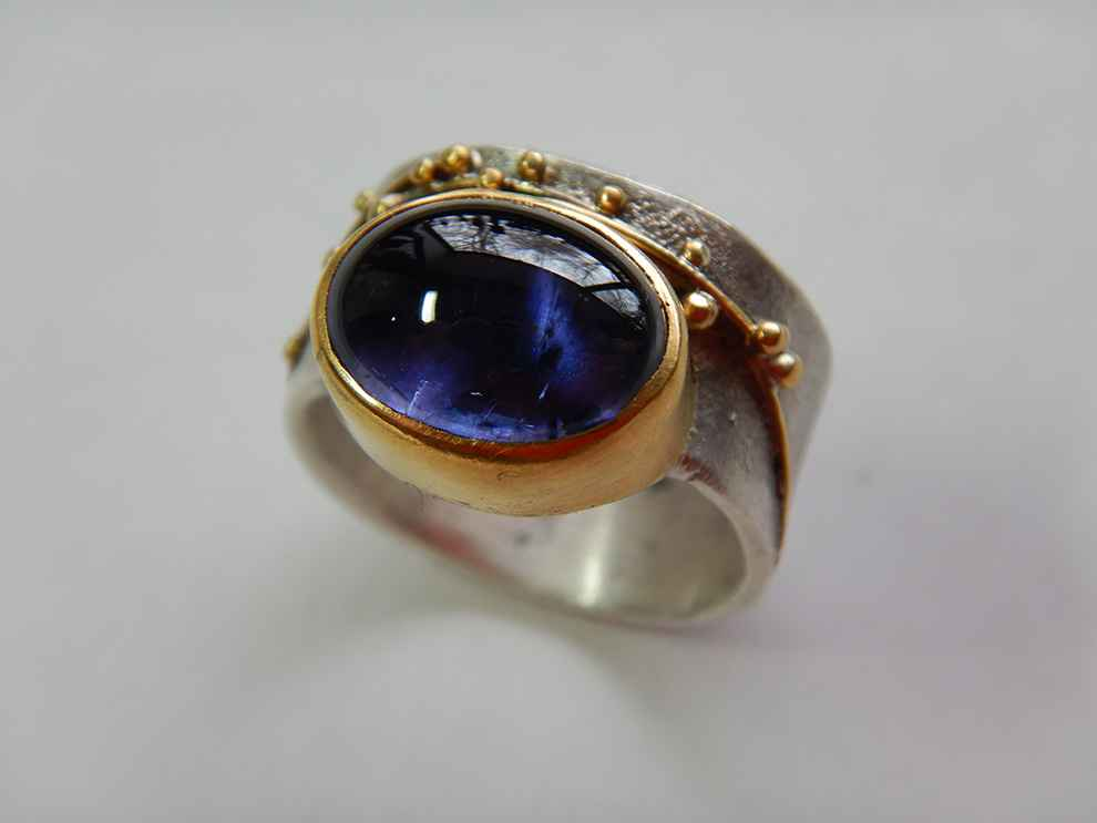 Sterling, 22k Gold and Botany Iolite Ring, size 7
