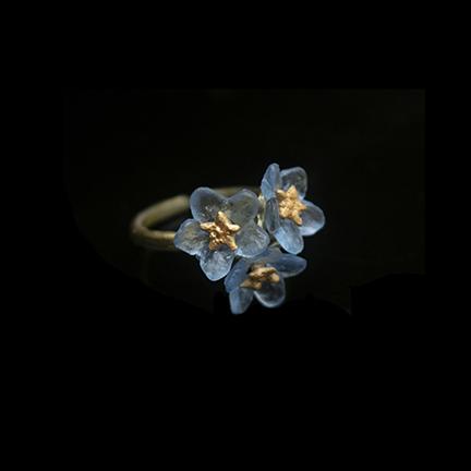 Forget Me Not 3 Flower Adjustable Ring