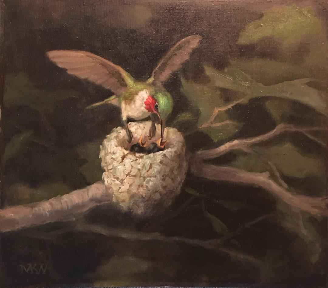 Hummingbird and Chicks  by  Mary Kay  West