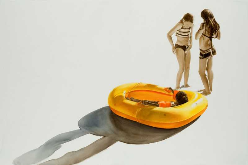 Two Girls and a Raft by  Melinda Morey - Masterpiece Online