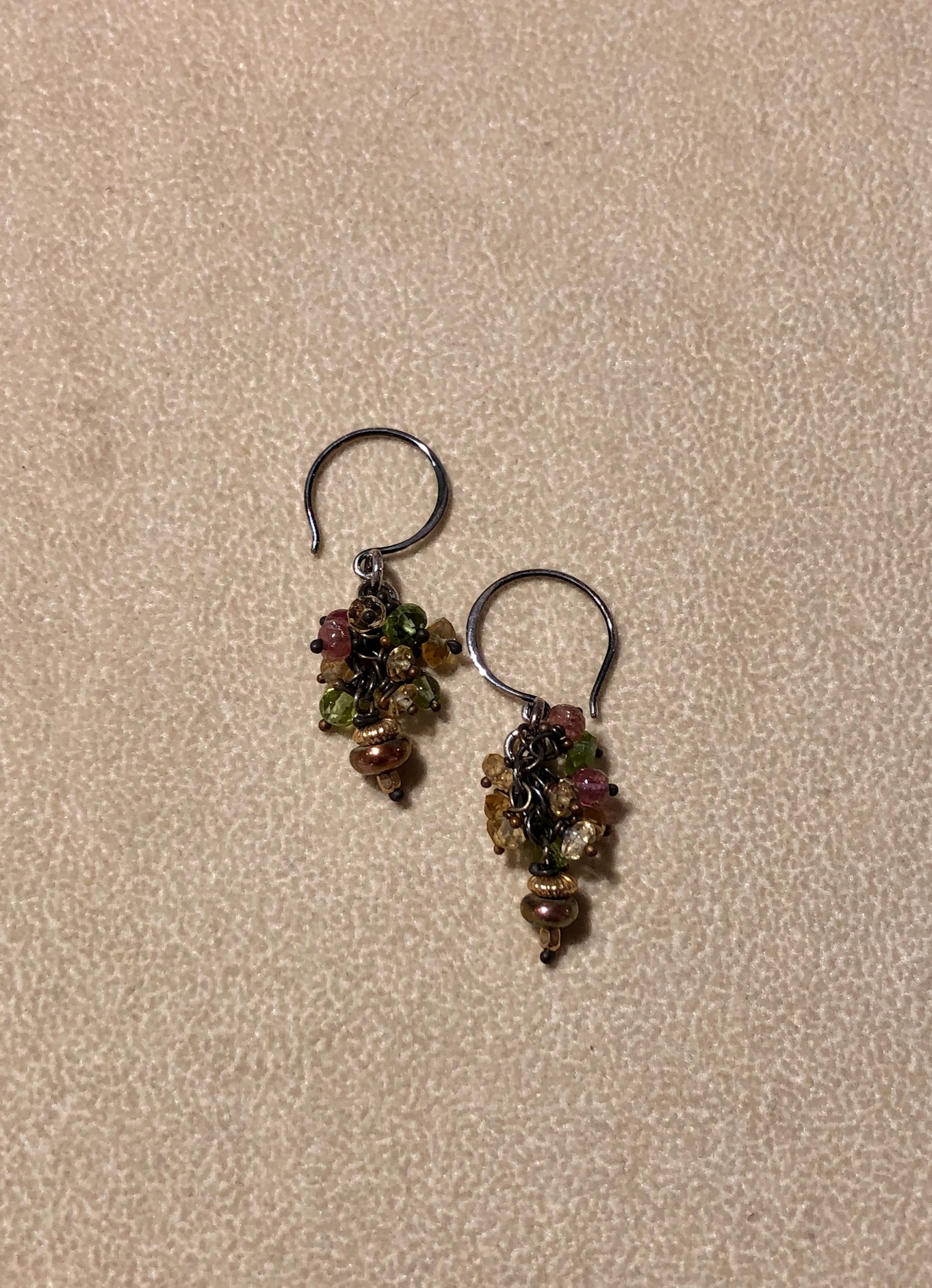Peridot and Citrine Cluster Earrings