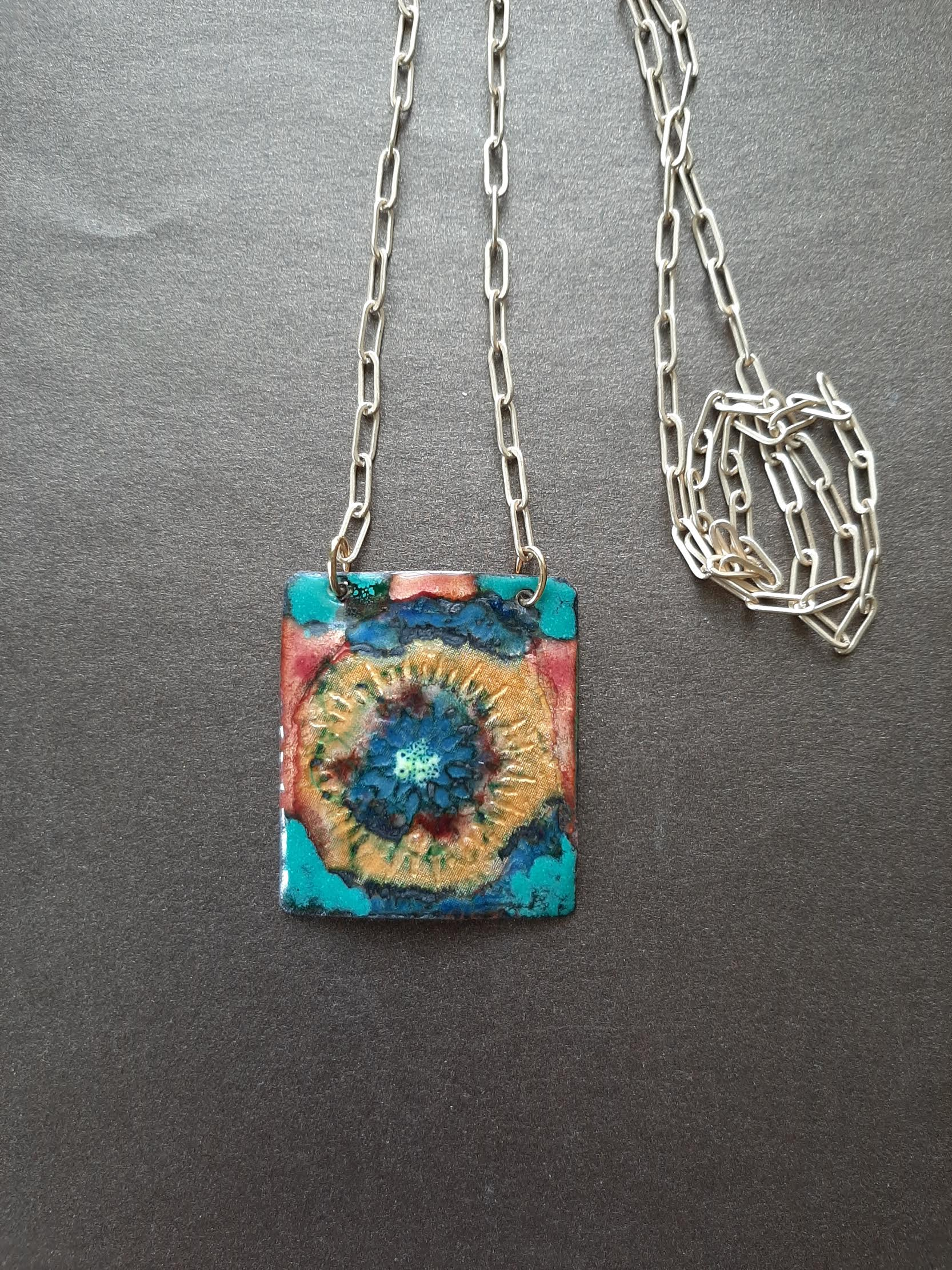 Square Necklace, Basse-taille with Gold Filled Chain