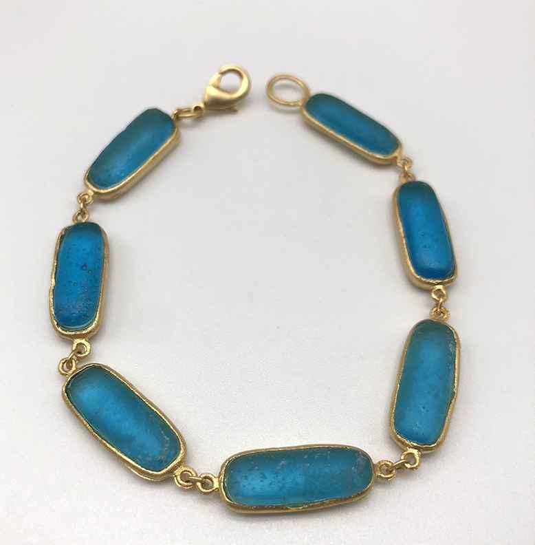 Rectangle Bracelet, Bronze and Cast Glass, 7 1/2