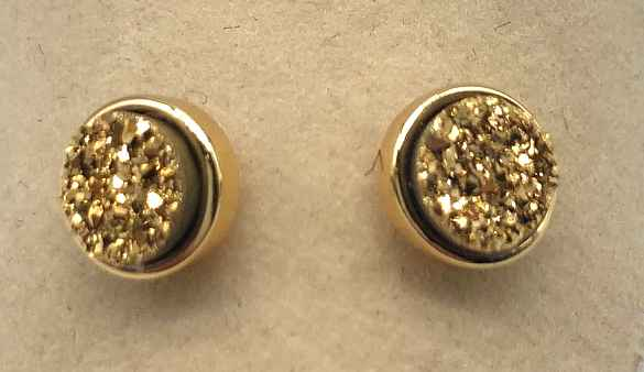 6mm Round Gold Druzy set in Gold Earrings