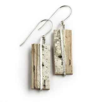 Nordic Earrings Birch Bark and Sterling 1 1/8