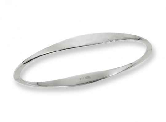 Hammered Oval Bangle Sterling Silver