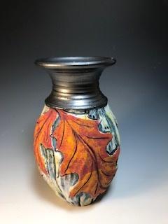 Red Oak Vase with Black Top II