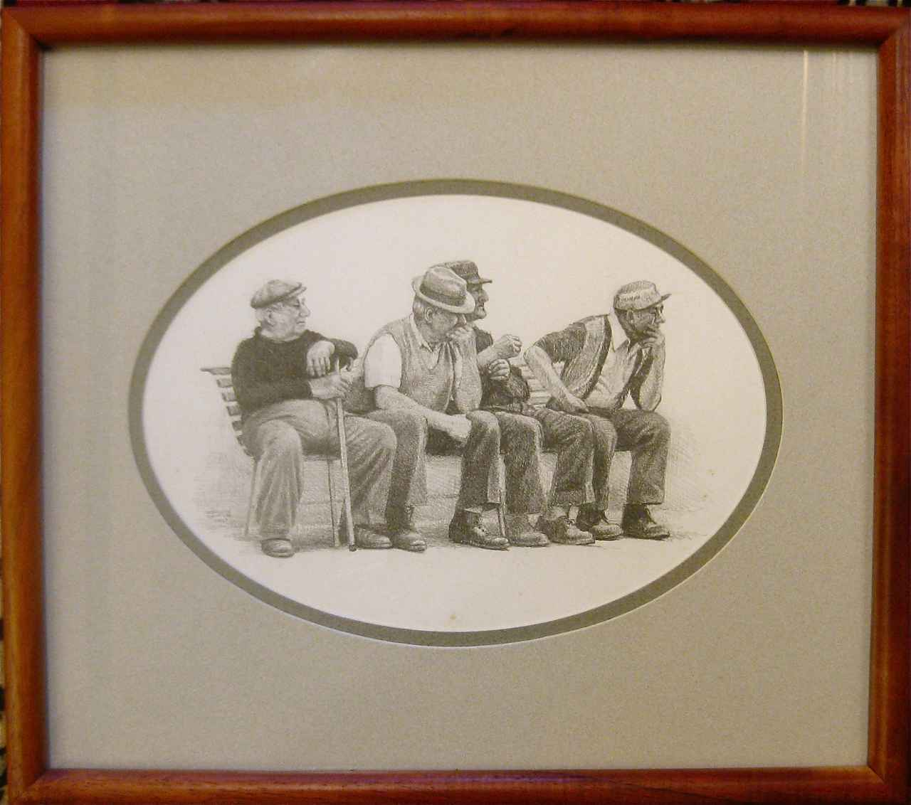 Four Men on a Bench by  Edwin B. Kayton - Masterpiece Online